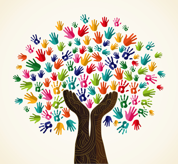 Colorful multi-cultural integration concept tree set. Vector file layered for easy manipulation and custom coloring.